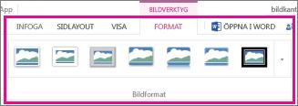Lägg till en kantlinje genom att välja Format och sedan Bildformat