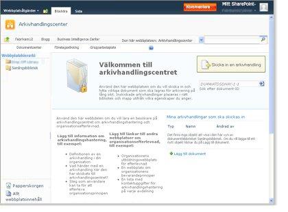 Webbplatsen Arkivhandlingscenter