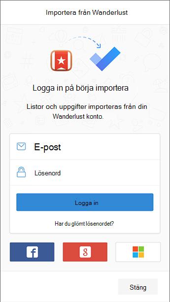 Skärm bild av to-do med inloggnings skärmen till Wunderlist öppen i import verktyget.