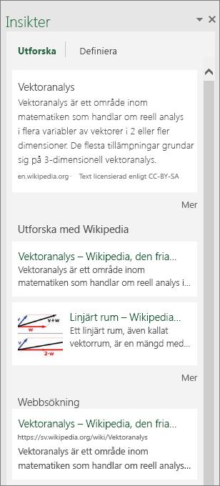 Fönstret Insikter i Excel 2016 för Windows
