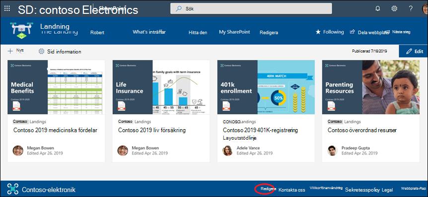 Lägga till eller redigera länkar och etiketter i en webbplats sidfot i SharePoint-kommunikationen.