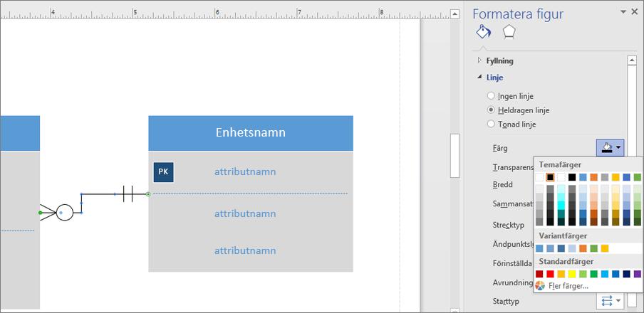 Klicka på ikonen bredvid Färg för att ändra färg på relationslinjen.