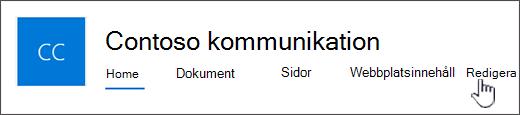 Huvudmenyn för kommunikation webbplats