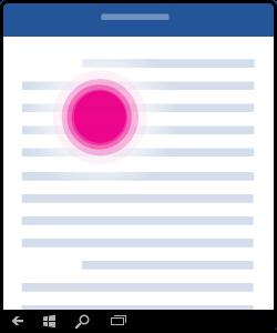 Bild som visar hur du trycker för att placera en markör i dokumentet