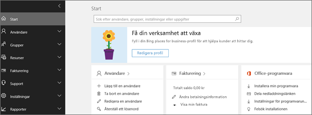 Administrationscenter för Office 365