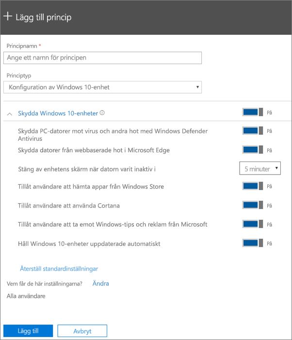 Lägg till principfönstret med Konfiguration av Windows 10-enhet markerat