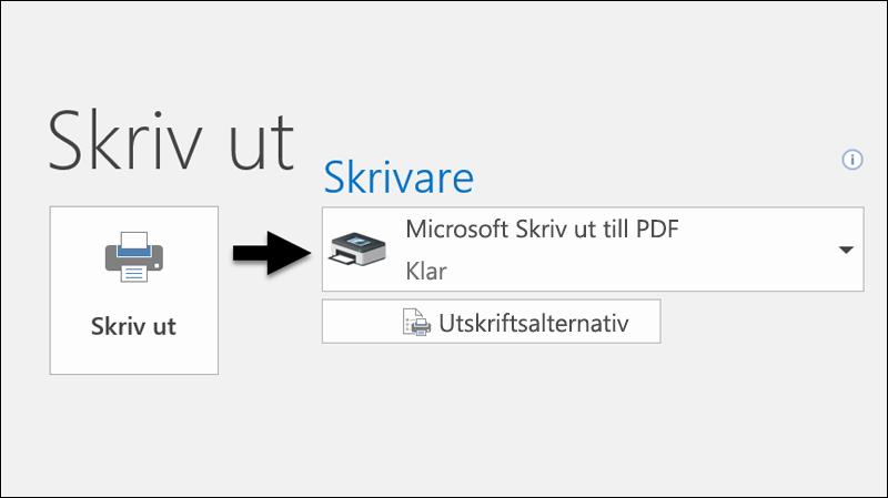 Använd kommandot Skriv ut för att skriva ut ett e-postmeddelande till en PDF-fil.