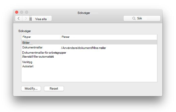 skärm bild av inställnings panelen för fil platser från Microsoft Word