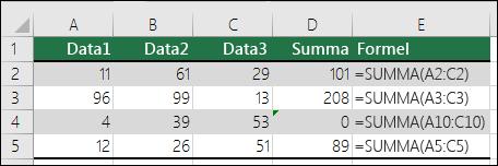 Excel visar ett fel när en formel inte matchar mönstret i närliggande formler