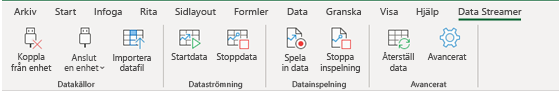 Visar menyfliksområdet för Data Streamer med både Koppla från enhet och Anslut en enhet aktiverade