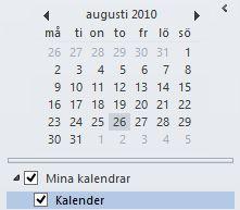Datumbläddring i kalenderns navigeringsfönster