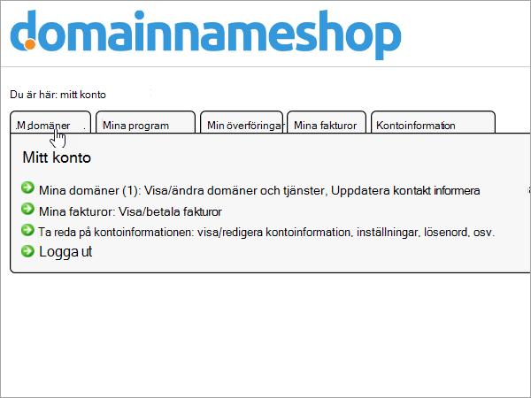 Fliken Mina domäner i Domainnameshop