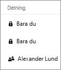 Skärmbild som visar kolumnen Delning i OneDrive för företag med objekt som delas och objekt som inte delas