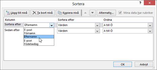 Under Kolumn klickar du på Sortera efter och väljer ett alternativ