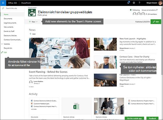 SharePoint Online-gruppwebbplatsens startsida