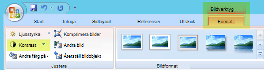 Välj kontrast i gruppen justera på fliken Format för Bildverktyg