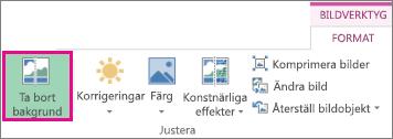 Knappen Ta bort bakgrund finns i gruppen Justera på formateringsfliken Bildverktyg