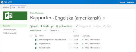 I Rapportbiblioteket på webbplatsen för Project Online hittar du dina exempelrapporter