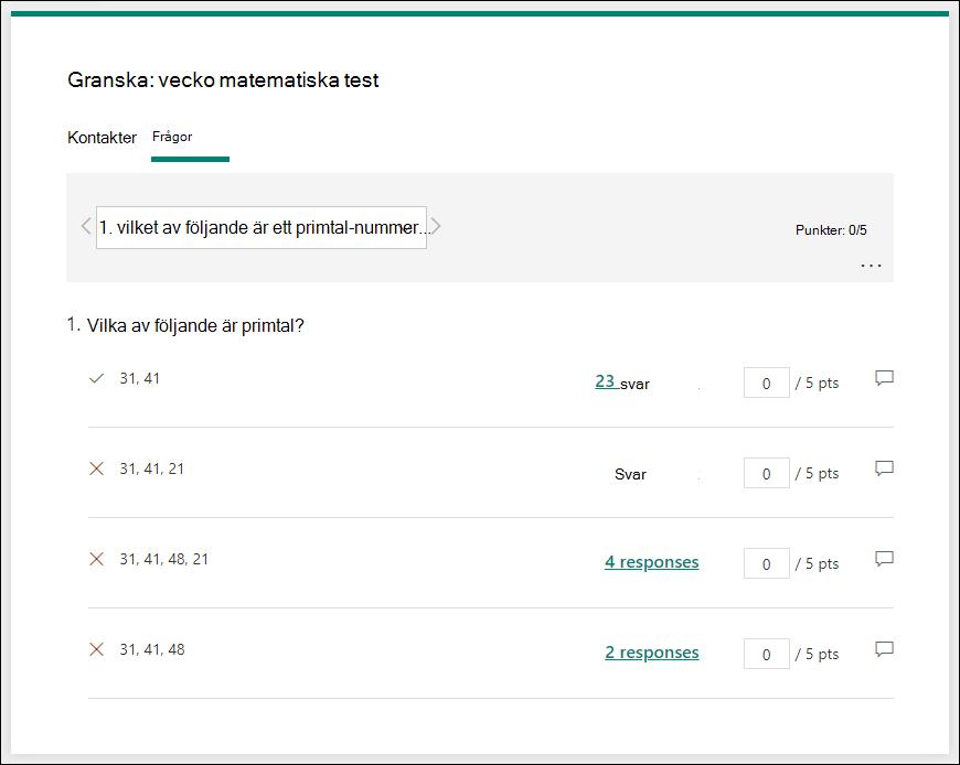 Granska frågor om test