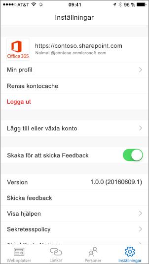 En del av en skärmbild som visar SharePoint-appens inställningsflik