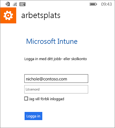 Logga in på Microsofts arbetsplats på Windows Phone