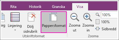 Skärmbild av knappen Pappersstorlek i OneNote 2016.