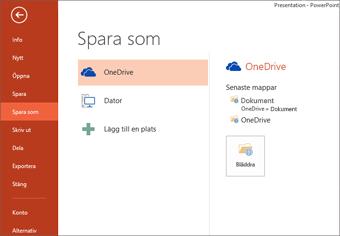 Spara på min OneDrive