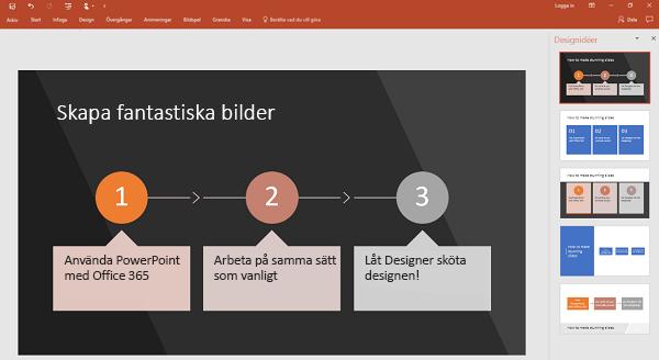 PowerPoint Designer gör om processorienterad text till en bild.