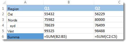 Formler som visas i ett Excel-kalkylblad
