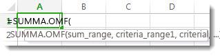 Använda Komplettera automatiskt för formel om du vill ange funktionen SUMMA.OMF