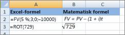 Excel-formler och liknande matematiska formler