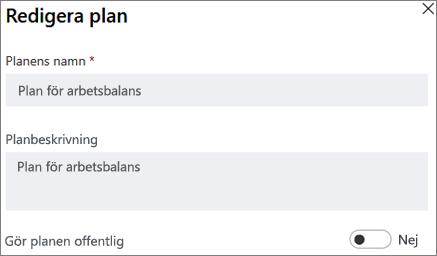 Skärmbild av dialogrutan Redigera plan visar att planera offentliga kontrollen.