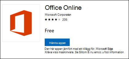 Office Online-filtillägg i Microsoft Store