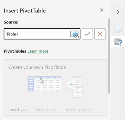 Fönstret Infoga pivottabell som frågar efter en tabell eller ett område att använda som källa och som gör att du kan ändra destinationen.