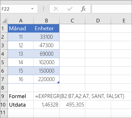 Exempel 1 – Funktionen LOGEST
