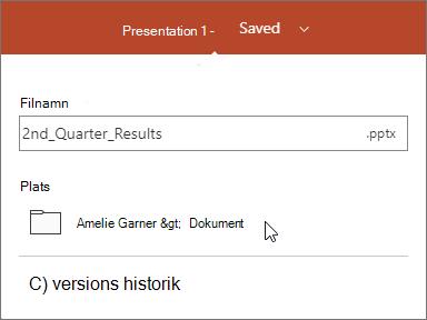 Byta namn på och spara presentationen