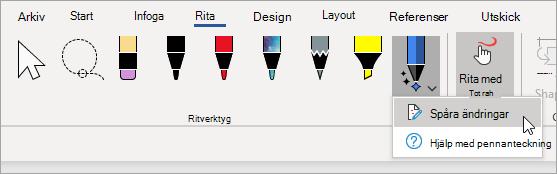 Välj spåra ändringar för pennan tecknings redigeraren.