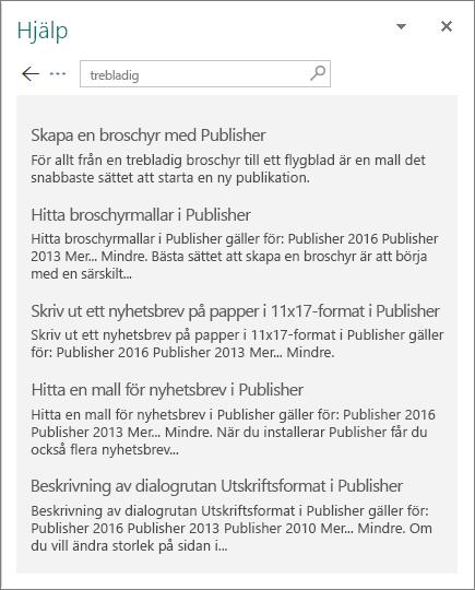 Skärmbild av hjälpfönstret i Publisher 2016 med resultatet av en sökning efter trebladig.