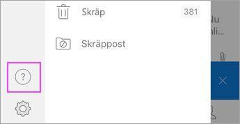 """Tryck på """"?"""" på Outlook för iOS-menyn"""
