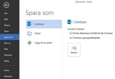 Spara-skärm som visar OneDrive för företag- och SharePoint-webbplats som lagts till som en plats