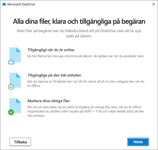 Skärmen Filer på begäran i guiden Välkommen till OneDrive