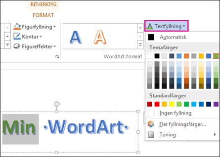 Galleriet Textfyllningsfärg på fliken Format under ritverktyg