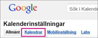 google calendar – klicka på kalendrar