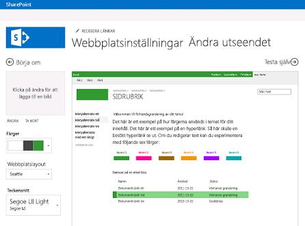 Exempel på skärm för att ändra teckensnitt, färg och layout på webbplatsen