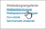 Alternativ för webbplatskolumn på sidan Webbplatsinställningar