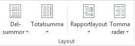 Layoutalternativ i gruppen Layout på fliken Design