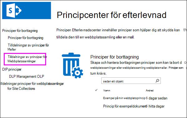 Länka tilldelningar av principer för webbplatssamlingar