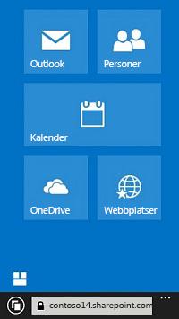 Använda navigeringspanelerna i Office 365 för att gå till webbplatser, bibliotek och e-post
