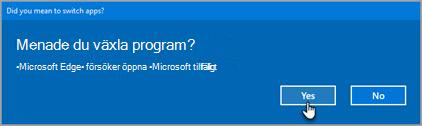 Office 365 växla program uppmaning