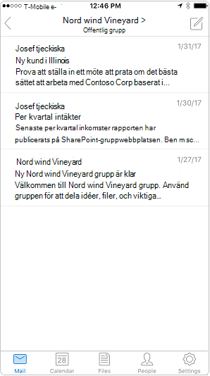 Konversationsvyn i Outlook-mobilappen